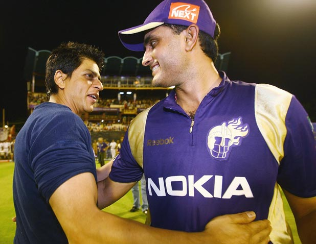 of the Kolkata Knight Riders congratulates his captain Sourav Ganguly