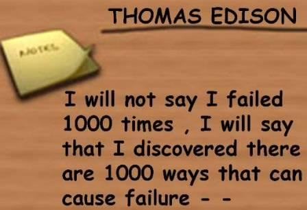 Thomas Edison Meaning of Failure Quote